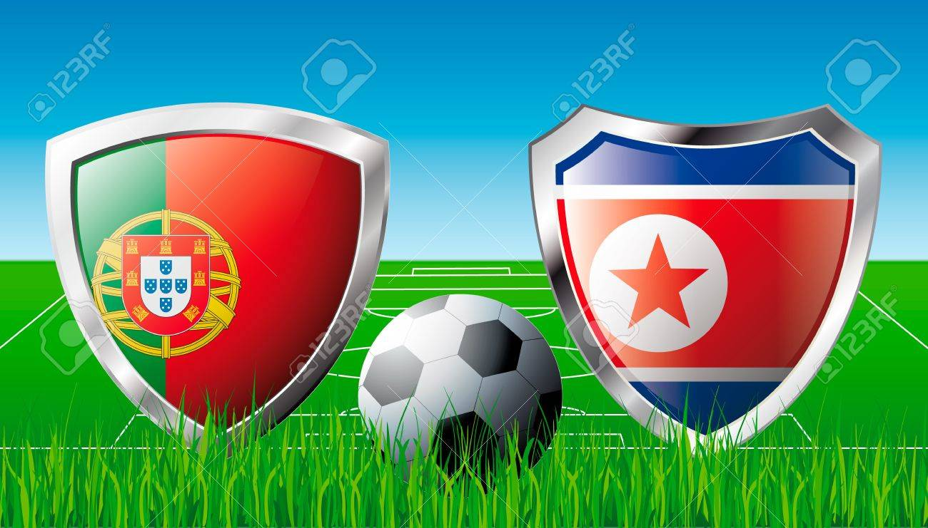 Portugal versus Korea DPR abstract  illustration isolated on white background. Soccer match in South Africa 2010. Shiny football shield of flag Portugal versus Korea DPR Stock Illustration - 6943280