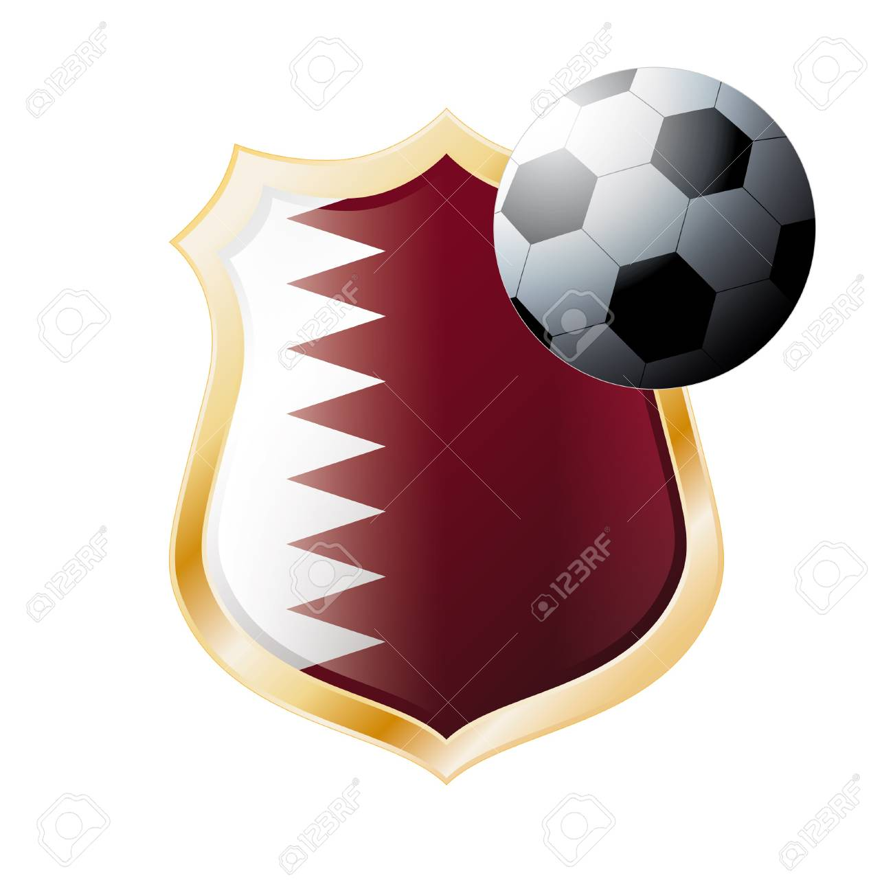 illustration - abstract soccer theme - shiny metal shield isolated on white background with flag of Qatar Stock Photo - 7117266