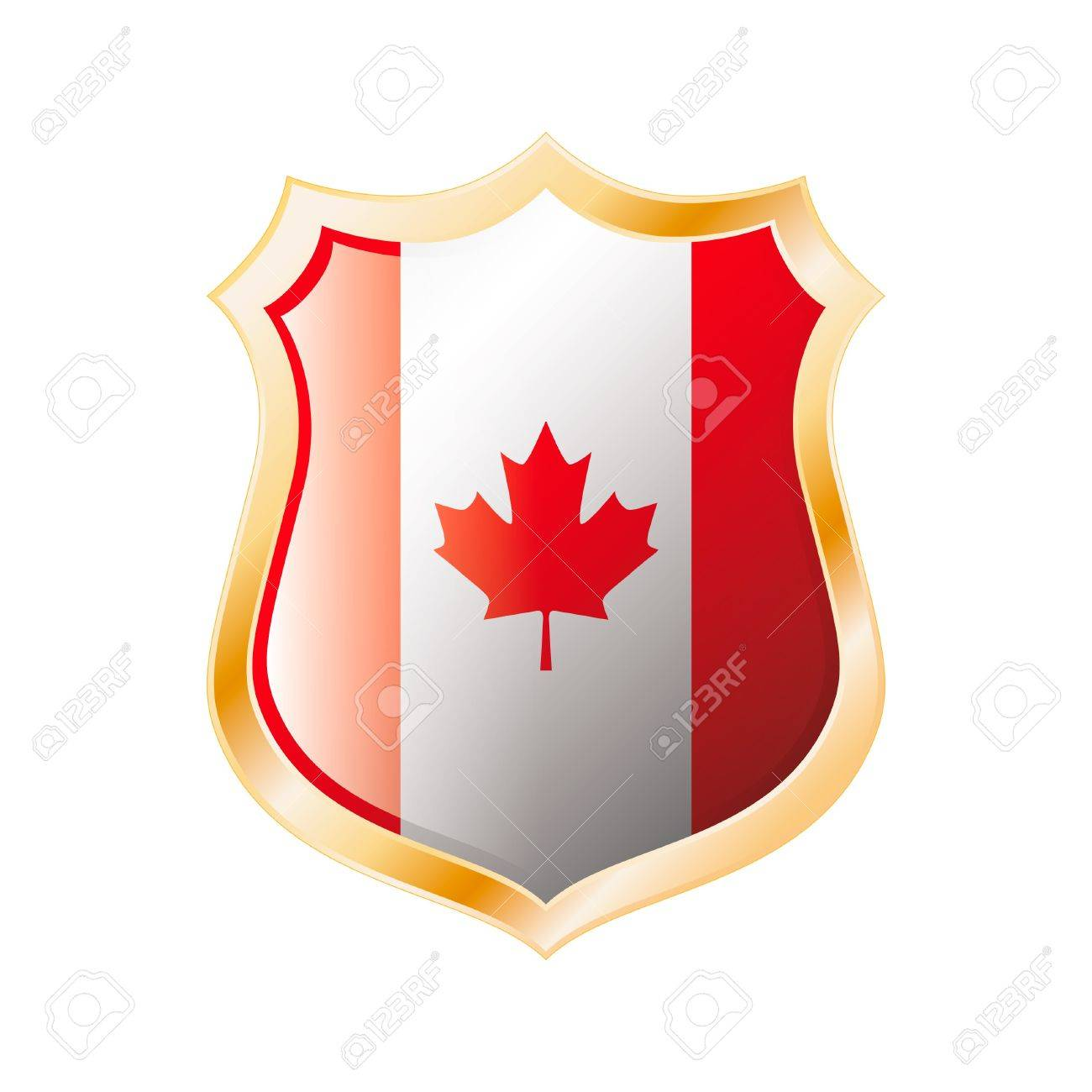 Canada flag on metal shiny shield  illustration. Collection of flags on shield against white background. Abstract isolated object. Stock Photo - 7117633