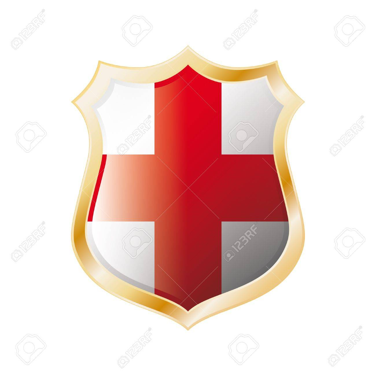 england flag on metal shiny shield illustration collection