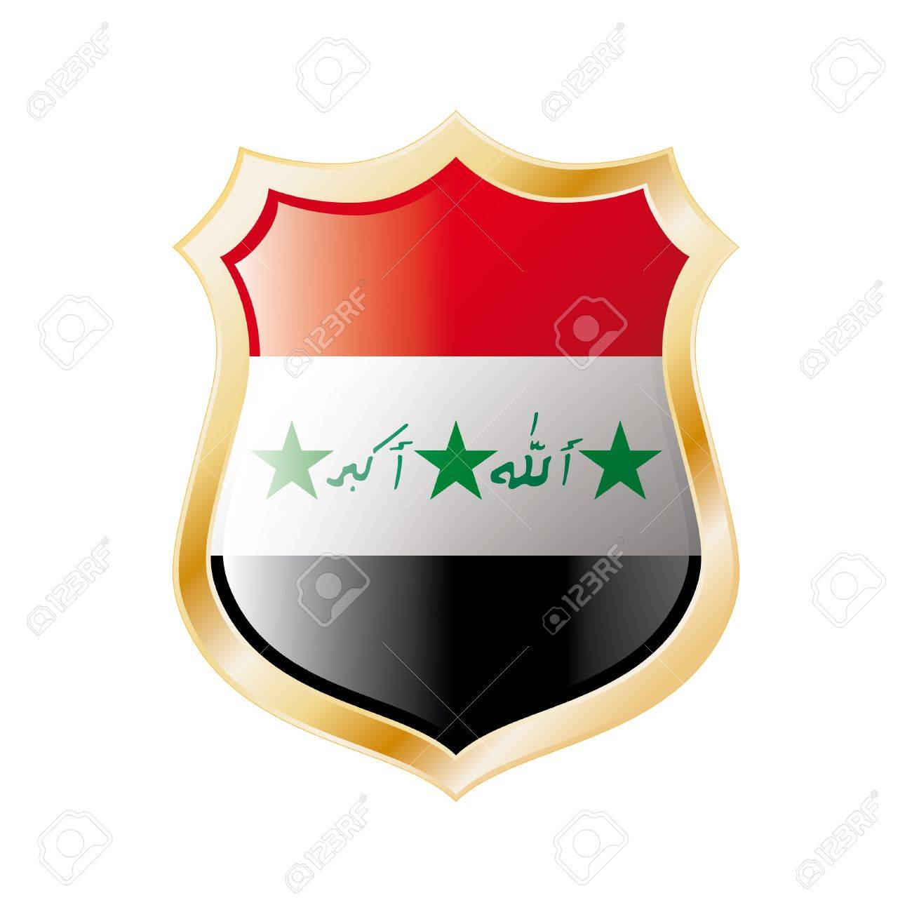 Iraq flag on metal shiny shield  illustration. Collection of flags on shield against white background. Abstract isolated object. Stock Photo - 7117715