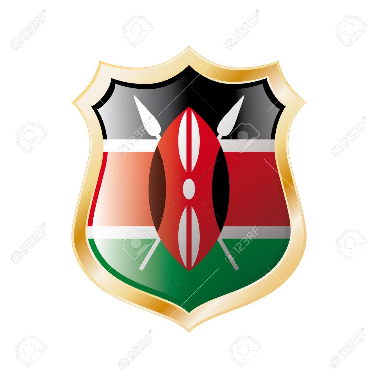 Kenya flag on metal shiny shield  illustration. Collection of flags on shield against white background. Abstract isolated object. Stock Illustration - 7117711