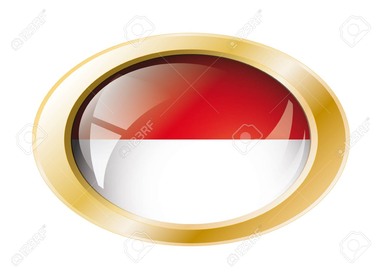 Indonesia shiny button flag with golden ring illustration. Isolated abstract object against white background. Stock Illustration - 7161292