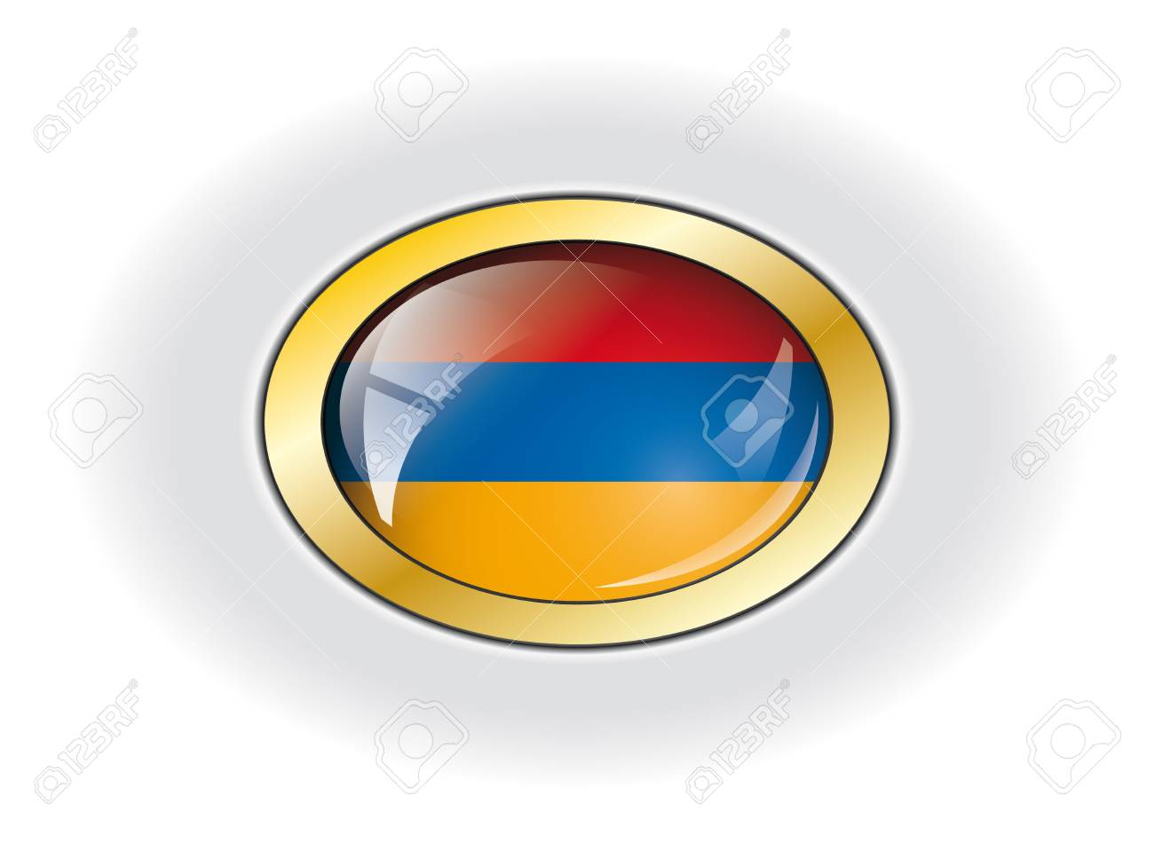 Armenia shiny button flag vector illustration. Isolated abstract object against white background. Stock Illustration - 7984055