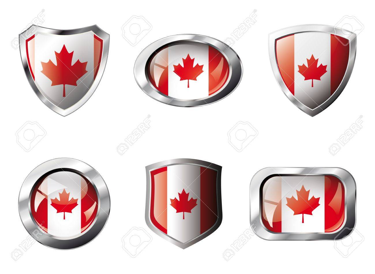 Canada set shiny buttons and shields of flag with metal frame - illustration. Isolated abstract object against white background. Stock Photo - 8788306