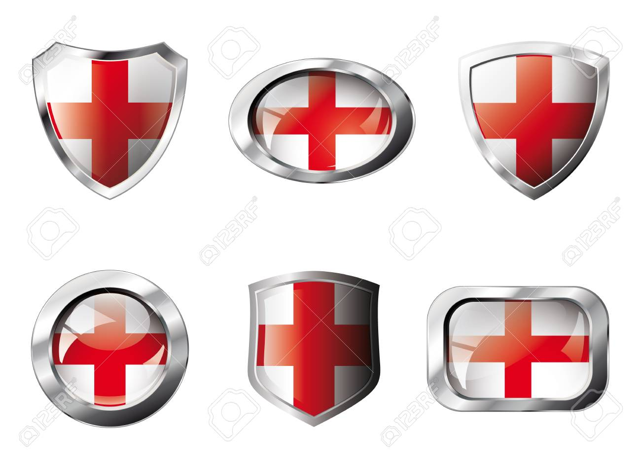 England set shiny buttons and shields of flag with metal frame. Isolated abstract object against white background. Stock Photo - 8787332