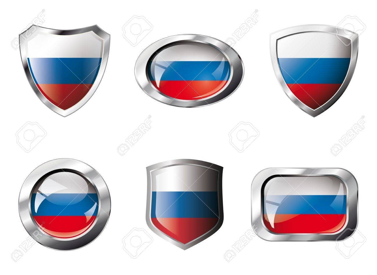 Russia set shiny buttons and shields of flag with metal frame . Isolated abstract object against white background. Stock Photo - 8787324