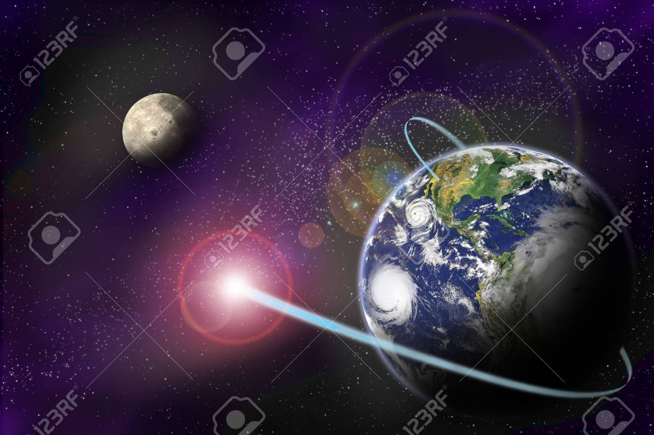 Technology digital communication in binary system on planet Earth on starfield background. Stock Photo - 9920910