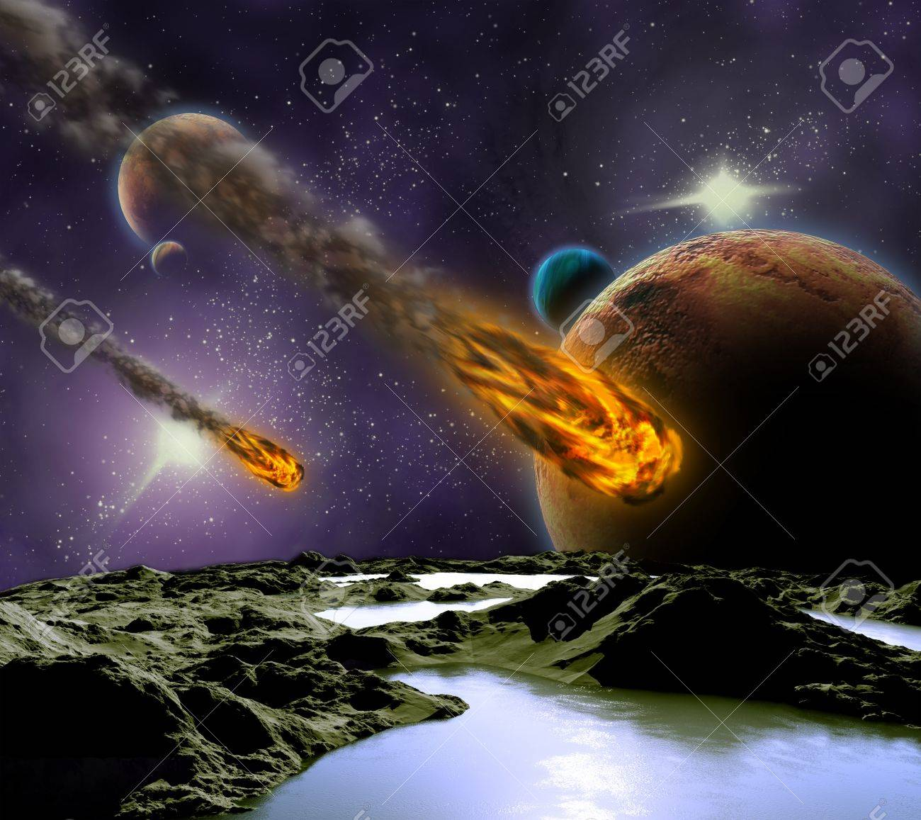 Attack of the asteroid on the planet in the universe. Abstract illustration of a meteor impact. Stock Illustration - 12781097