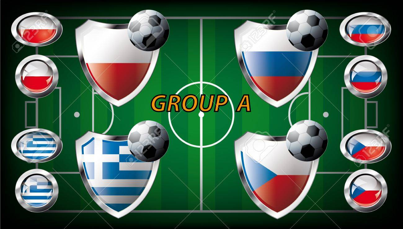 Euro 2012 Group A - Poland, Greece, Russia, Czech Republic  Participation of teams at the biggest European football competition  Easy to use and modify Stock Photo - 13524167