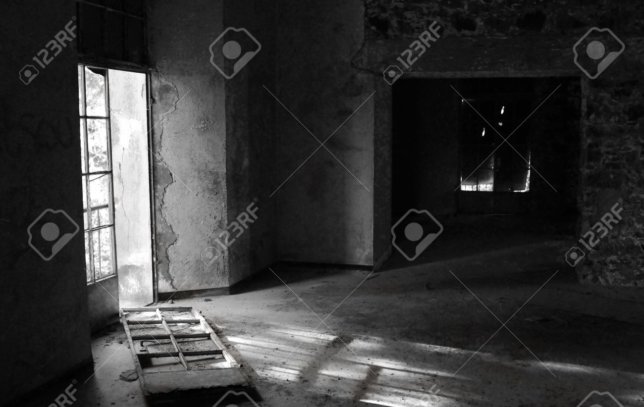 Abandoned room with broken door and dramatic light at Vereggaria Hotel, Prodromos, Cyprus Stock Photo - 7720312