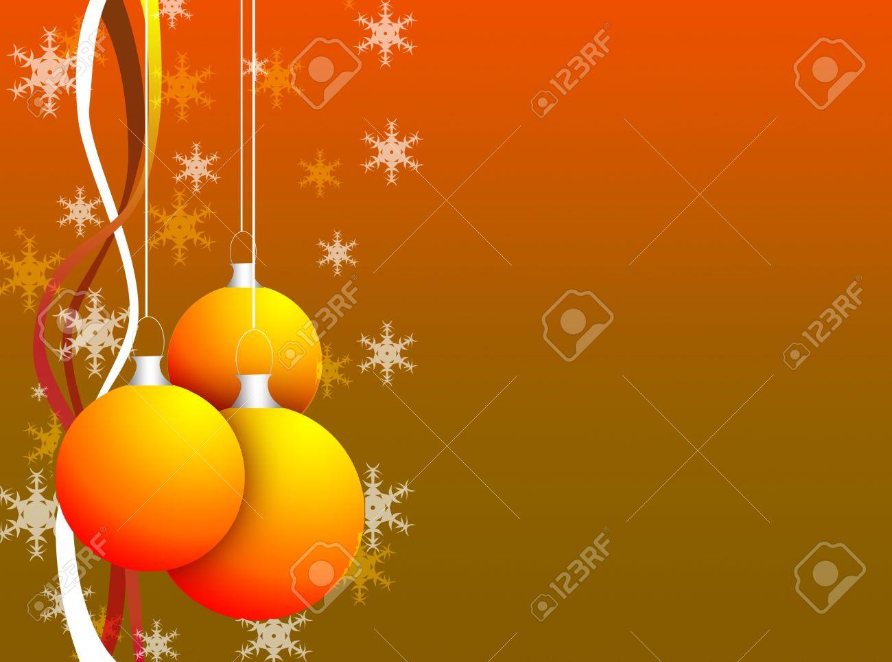 Cadre De Noël Pour Carte De Voeux Avec Un Fond Orange Banque D