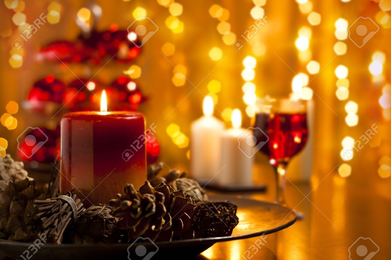 Christmas Decorations and Candles Set on a Dining table Stock Photo - 11132666