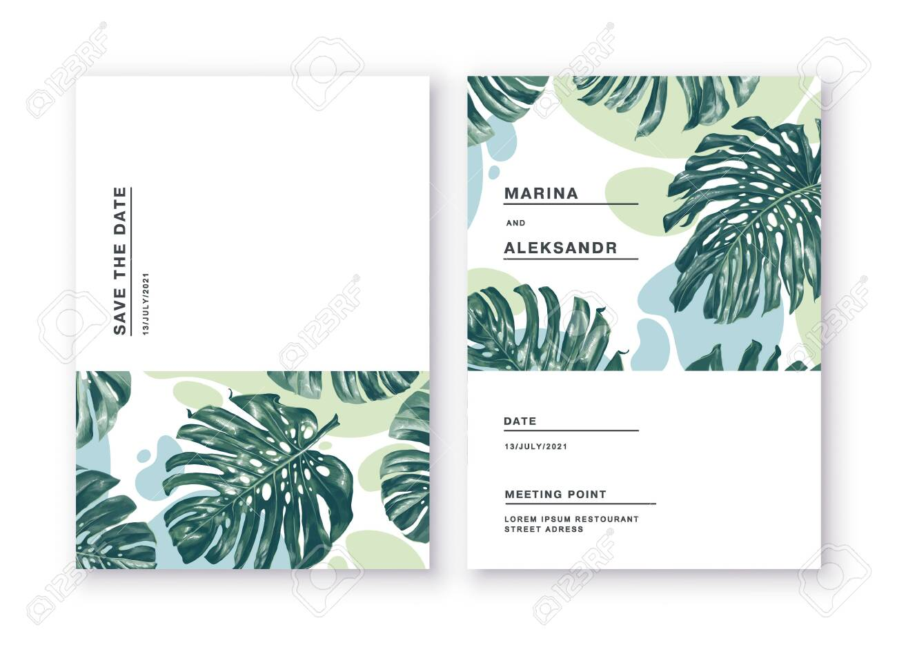 Minimalistic cards with tropical leaves of monstera on background of abstract spots in restrained colors. Greeting cards posters, banners for online and offline stores. Feel free to use the place text - 150600757