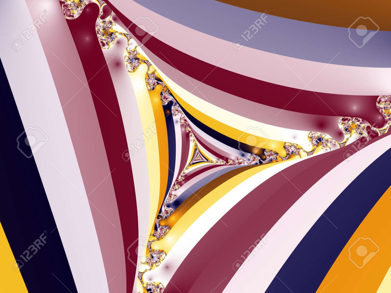 3D-Illustration of a zoom into an infinite mathematical fractal set - 169911849