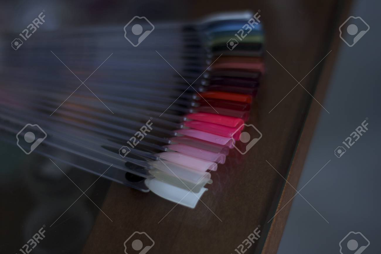 Artificial nails beauty salon glass table Stock Photo - 13110273