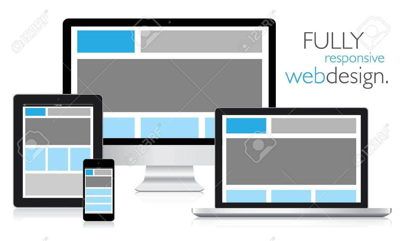 Fully responsive web design in electronic devices Stock Vector - 16430878