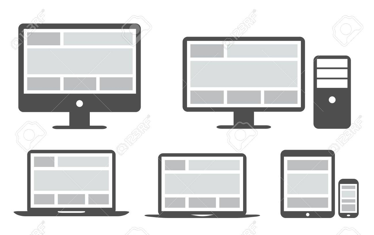 Responsive grid and web design in simplified icons Stock Vector - 21156230