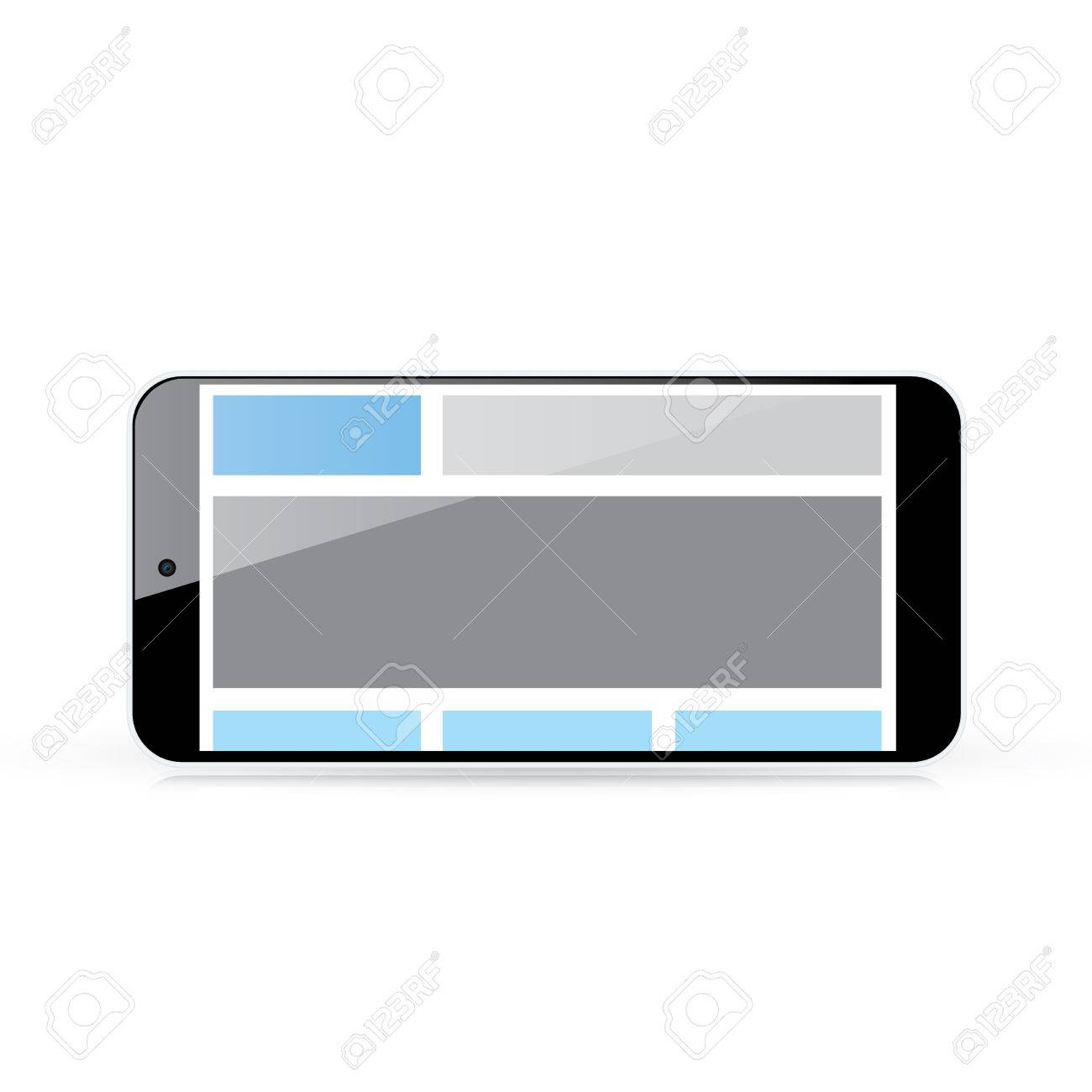 Web coding concept - responsive html and css web design in horizontal smart phone Stock Vector - 24750924