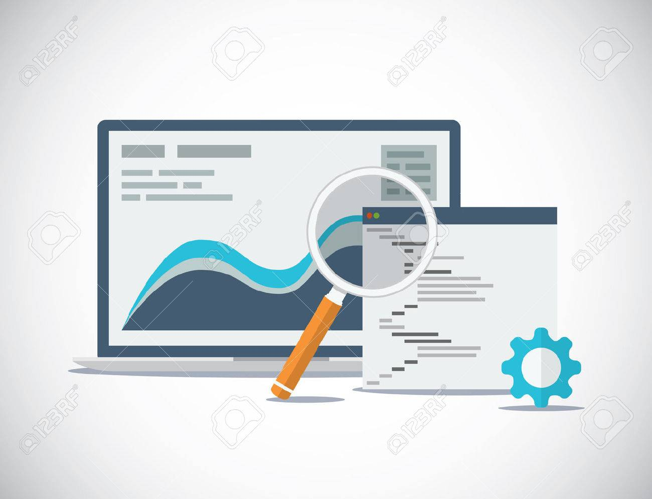 Website SEO analysis and process flat vector concept - 26897182