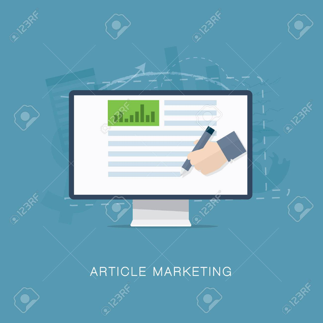 Flat internet article and newsletter marketing vector Stock Vector - 27787694