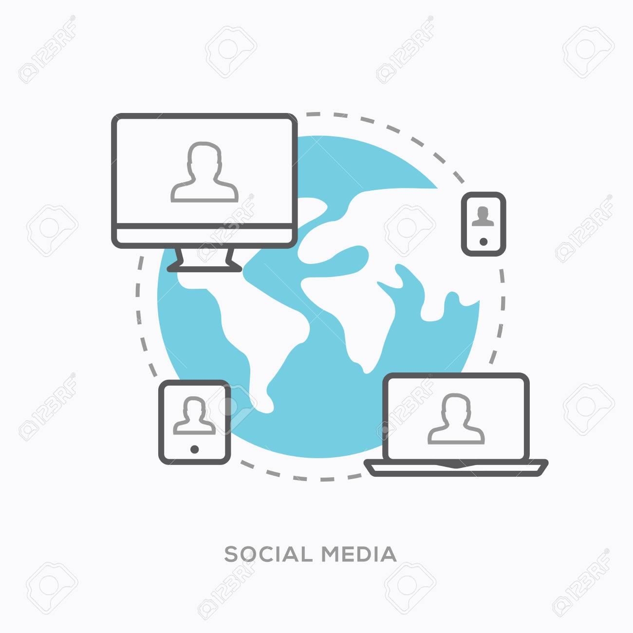 Social media illustration in modern minimal outline style Stock Vector - 30543841