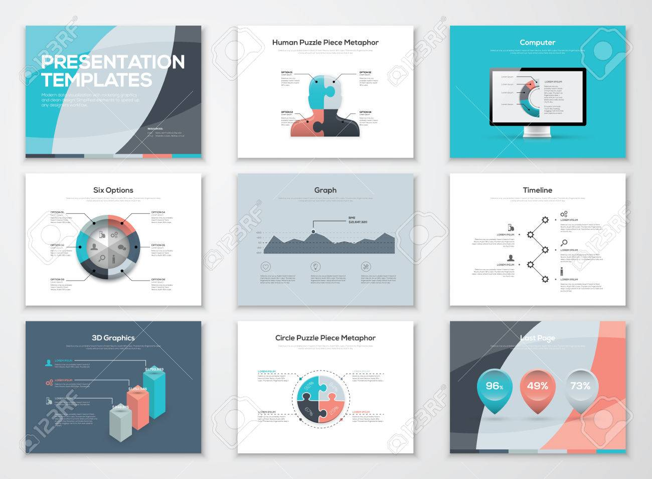 business presentation templates and infographic elements royalty