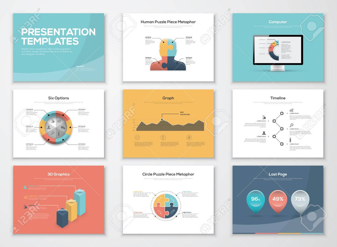 Business Presentation Templates And Infographics Vector Elements Stock  Vector   36235845