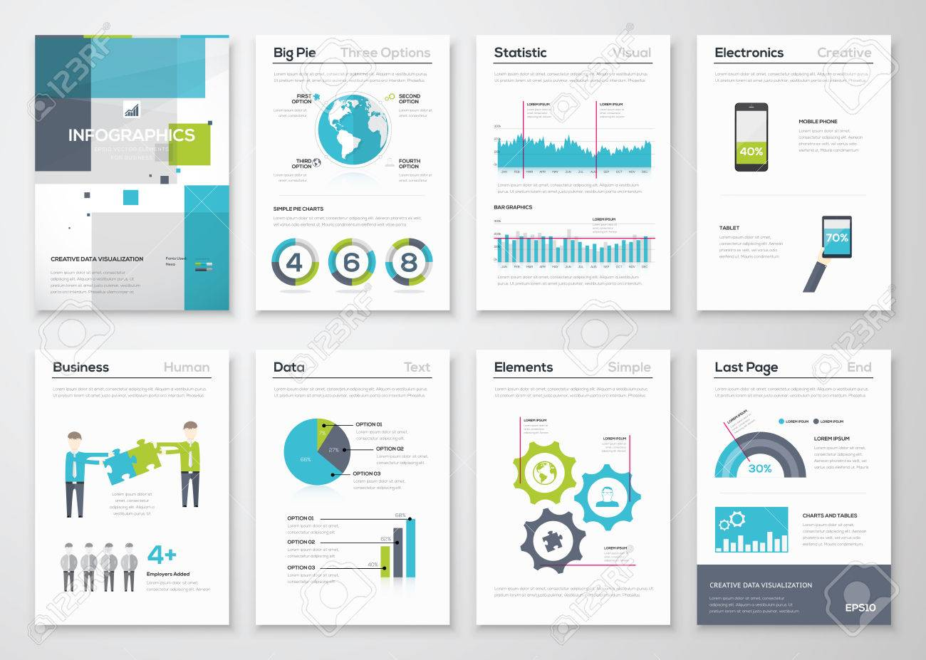 Set of infographic brochure elements and business graphics - 36927189