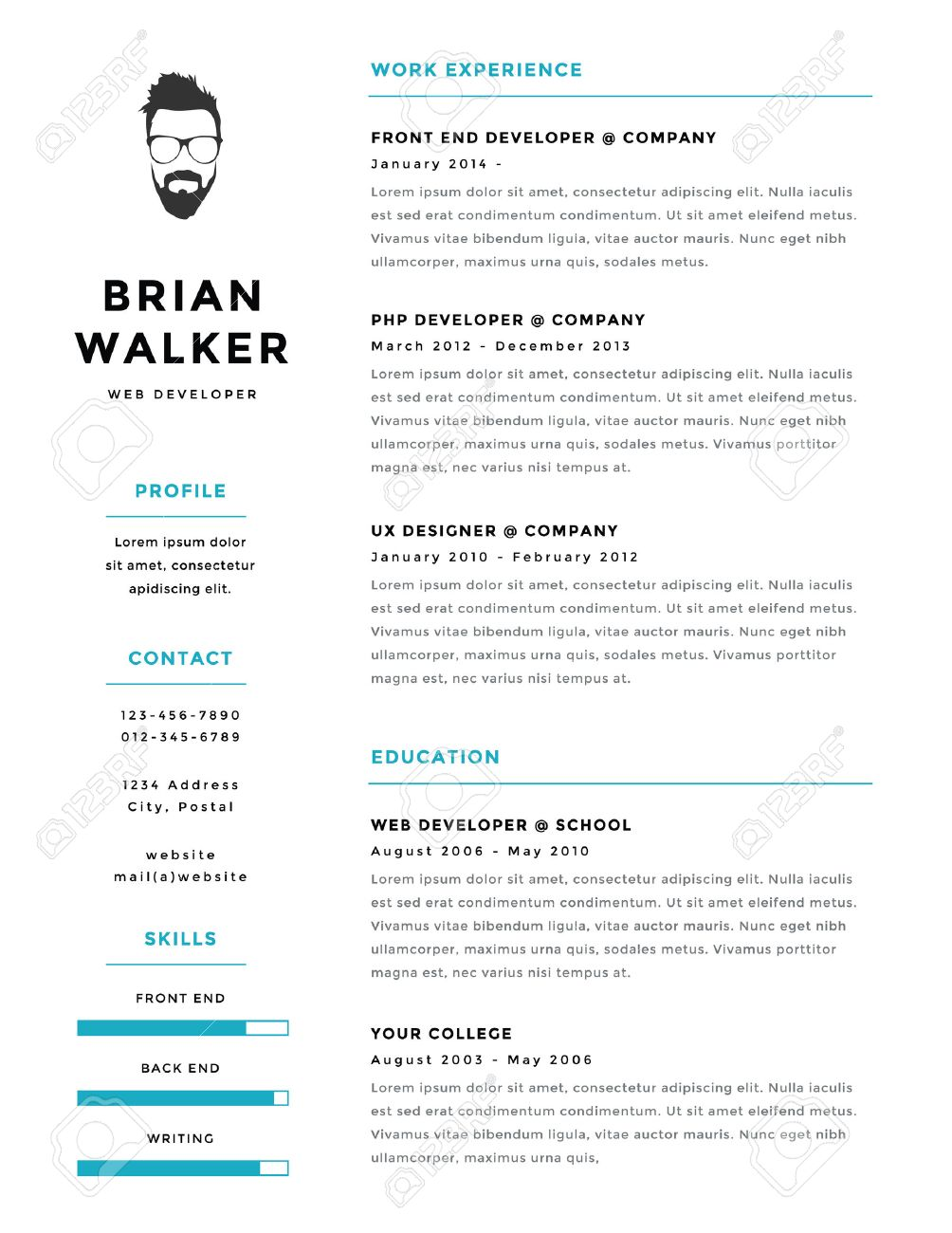 Creative And Minimalistic Personal Vector Resume / Cv Template Stock Vector    38199915  Personal Resume Template