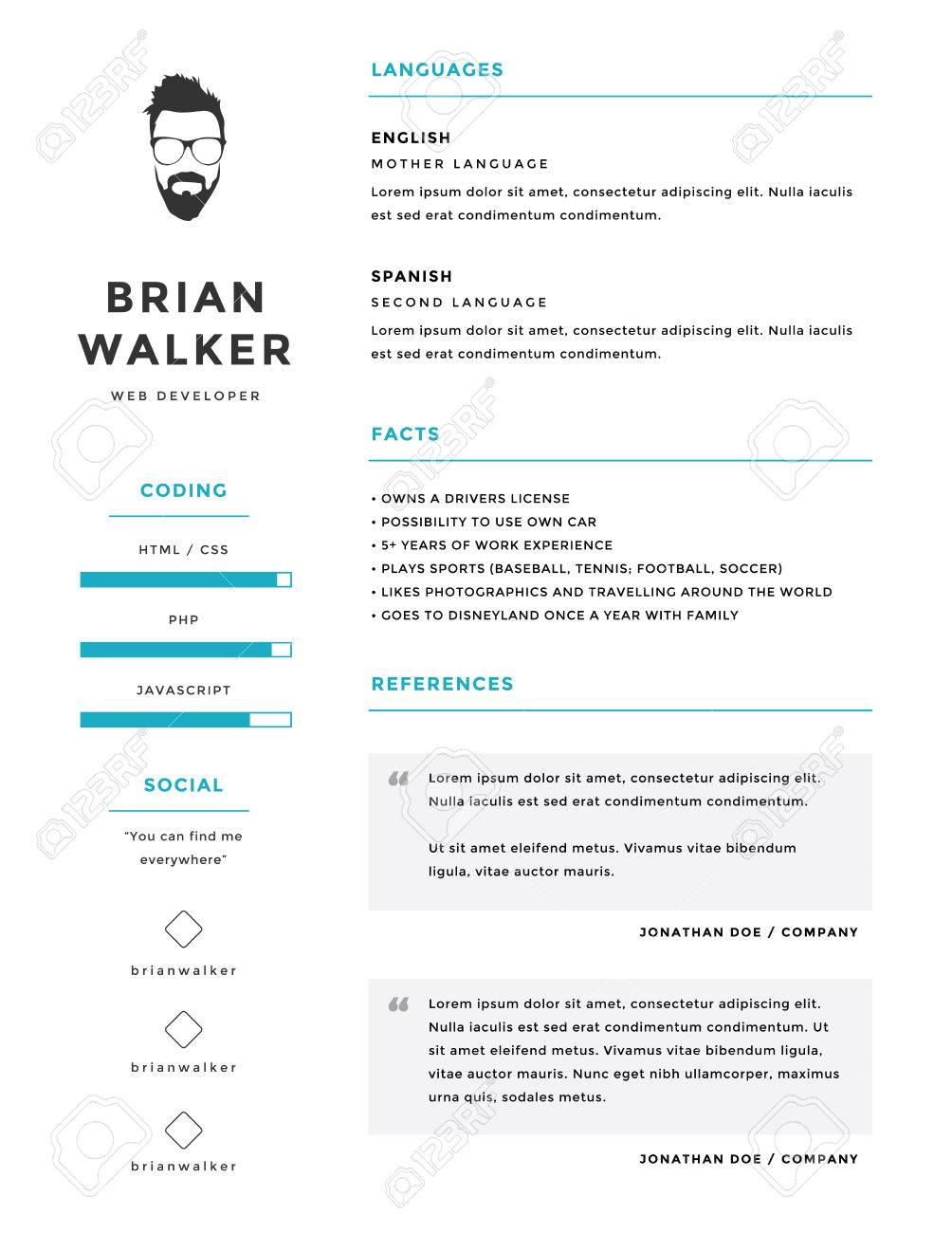 Clean And Minimalistic Personal Vector Resume Cv Template Royalty
