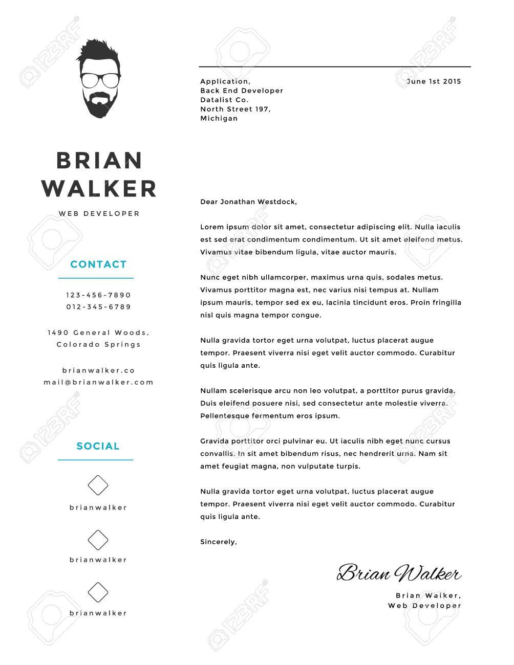 Creative And Minimalistic Personal Vector Cover Letter Template Stock
