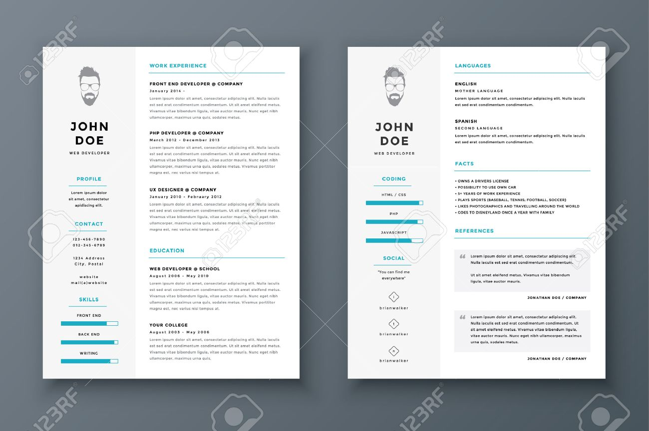 Resume And Cv Vector Template. Awesome For Job Applications ...