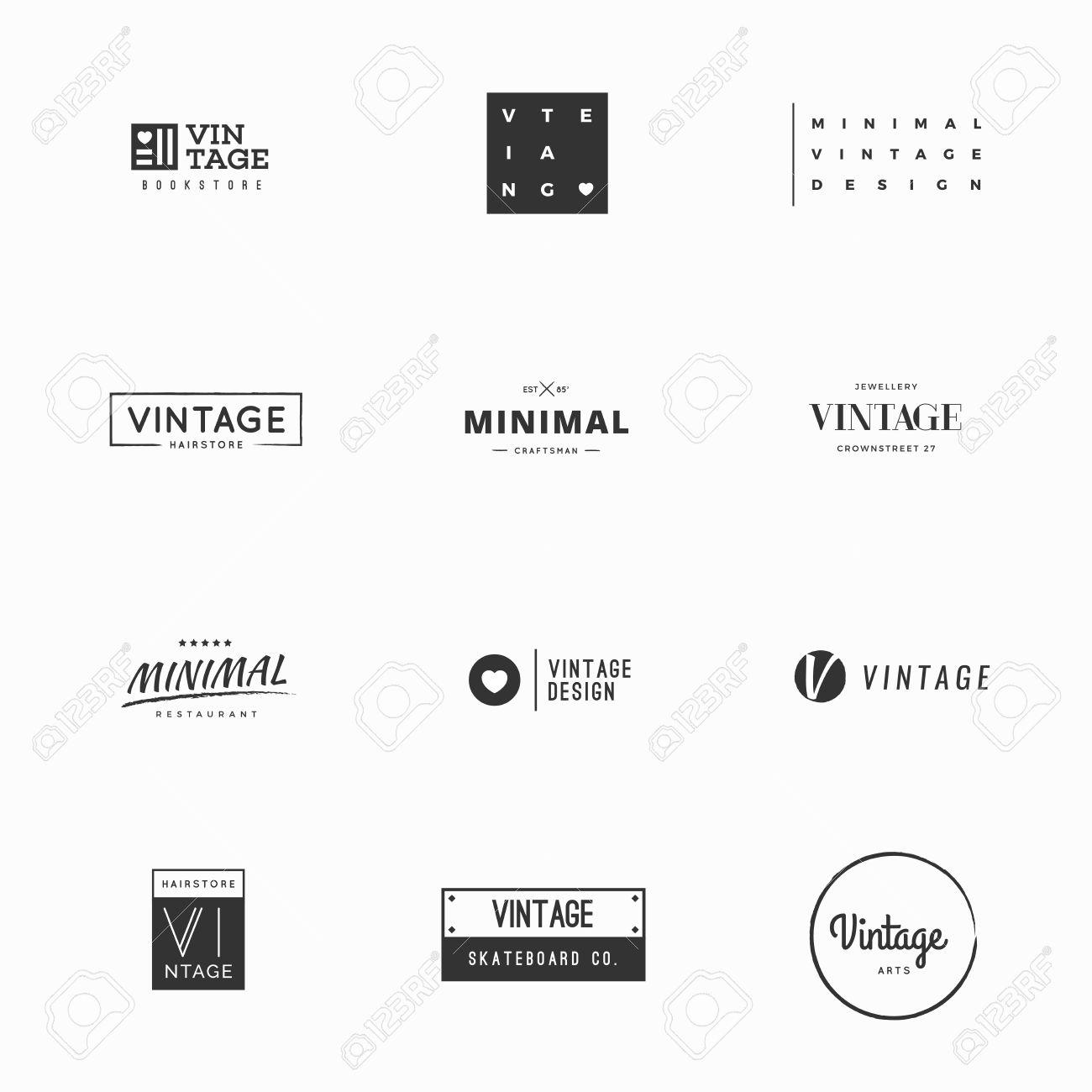 Minimal Vintage Vector Logo Templates For Brand Design Royalty Free ...