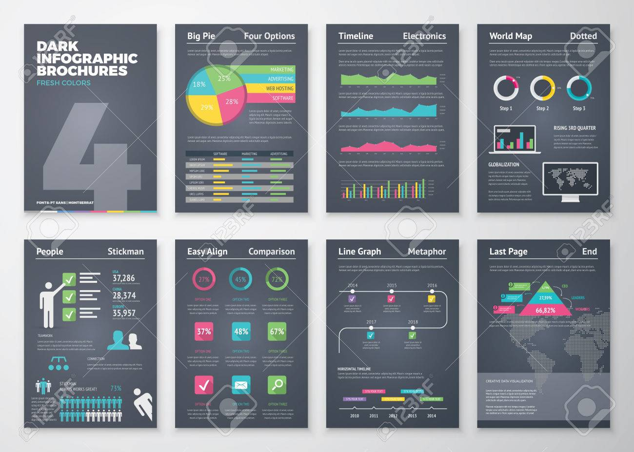 Black infographic templates in brochure style - 40631061