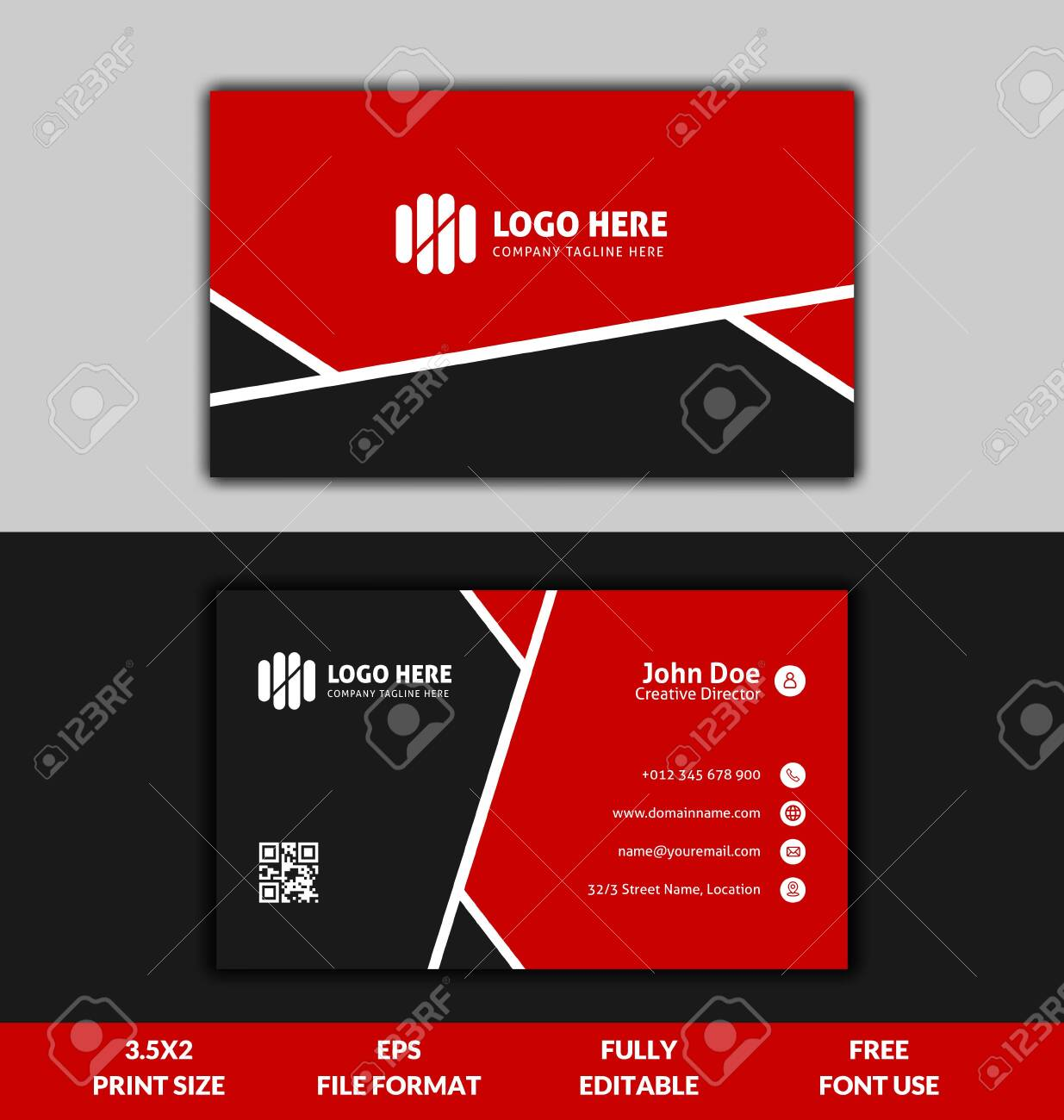 Clean And Corporate Business Card Template, Red And Black Color Throughout Template For Cards To Print Free