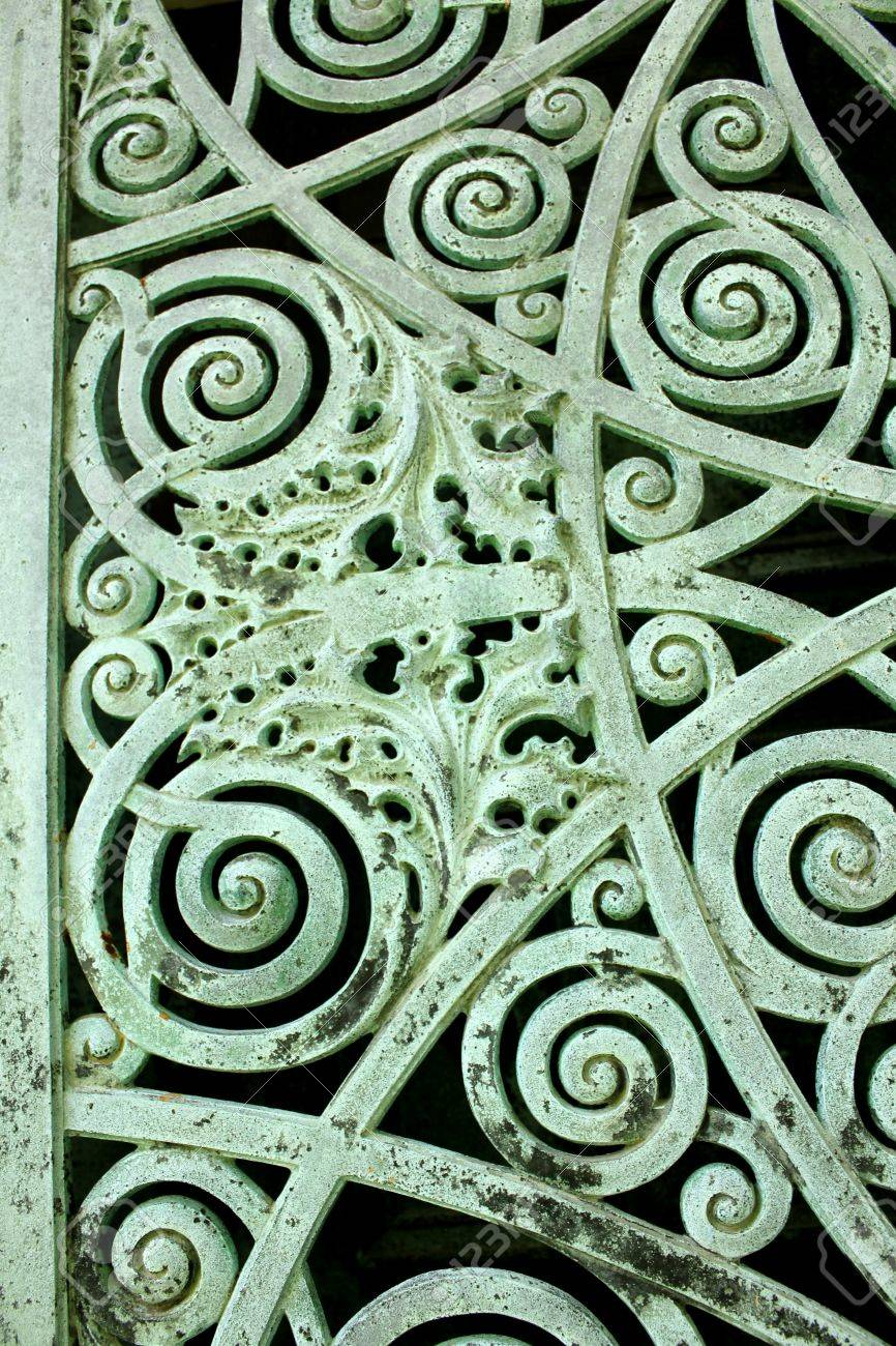 Close up of a panel on metal doors aged and weathered to a green patina, on a mausoleum at Graceland Cemetery, Chicago, Illinois, USA Stock Photo - 20754739
