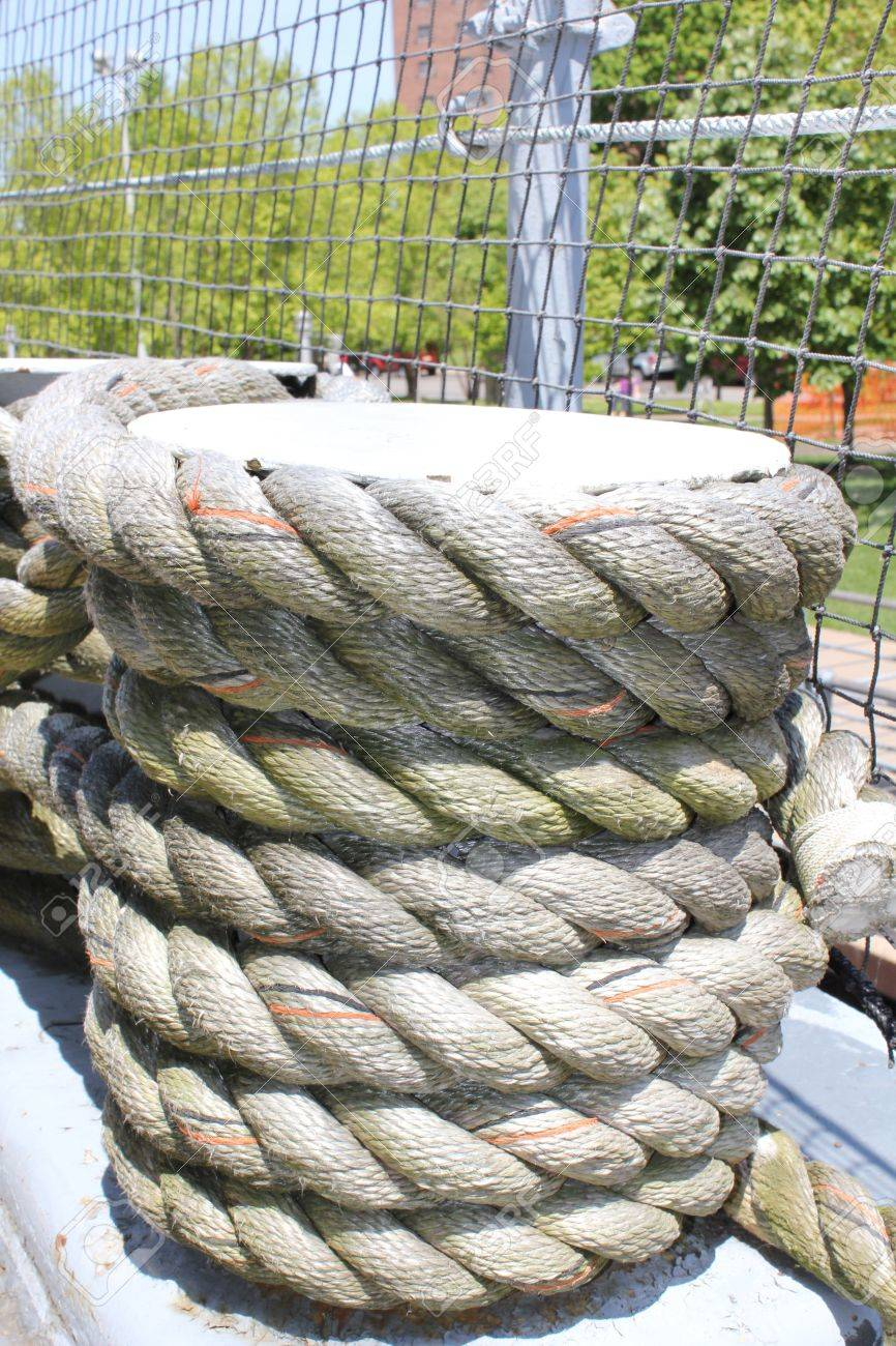 Coils of weathered rope on a ship Stock Photo - 21338450