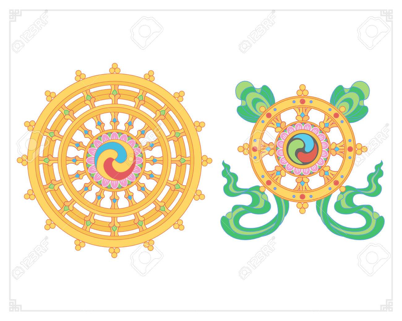 Dharma wheel dharmachakra icons wheel of dharma in flat design dharma wheel dharmachakra icons wheel of dharma in flat design buddhism symbols biocorpaavc Gallery