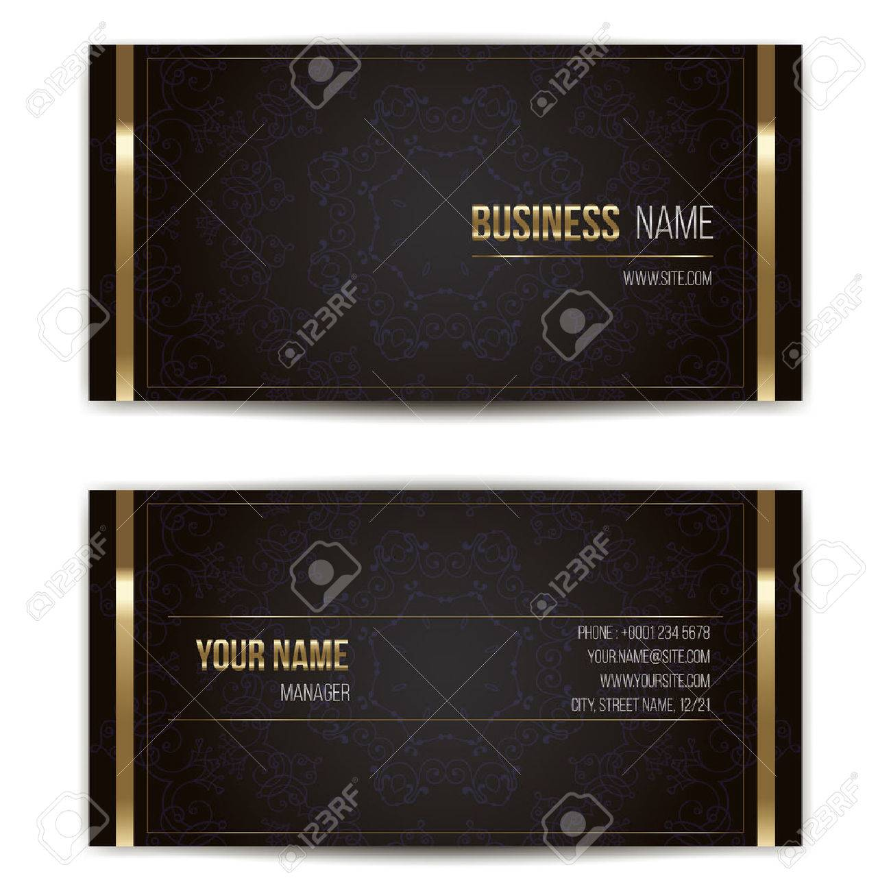 Elegant vector business card template. Vector format. Gold and dark colors. - 43815408