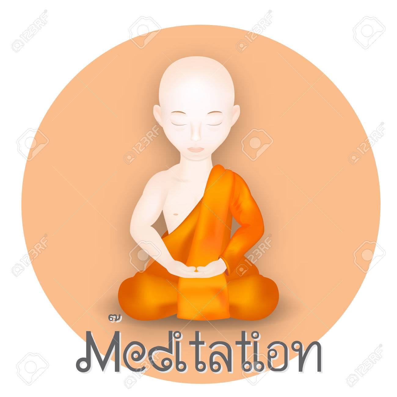 Buddhist Monk In Meditation Pose Vector Illustration Vector