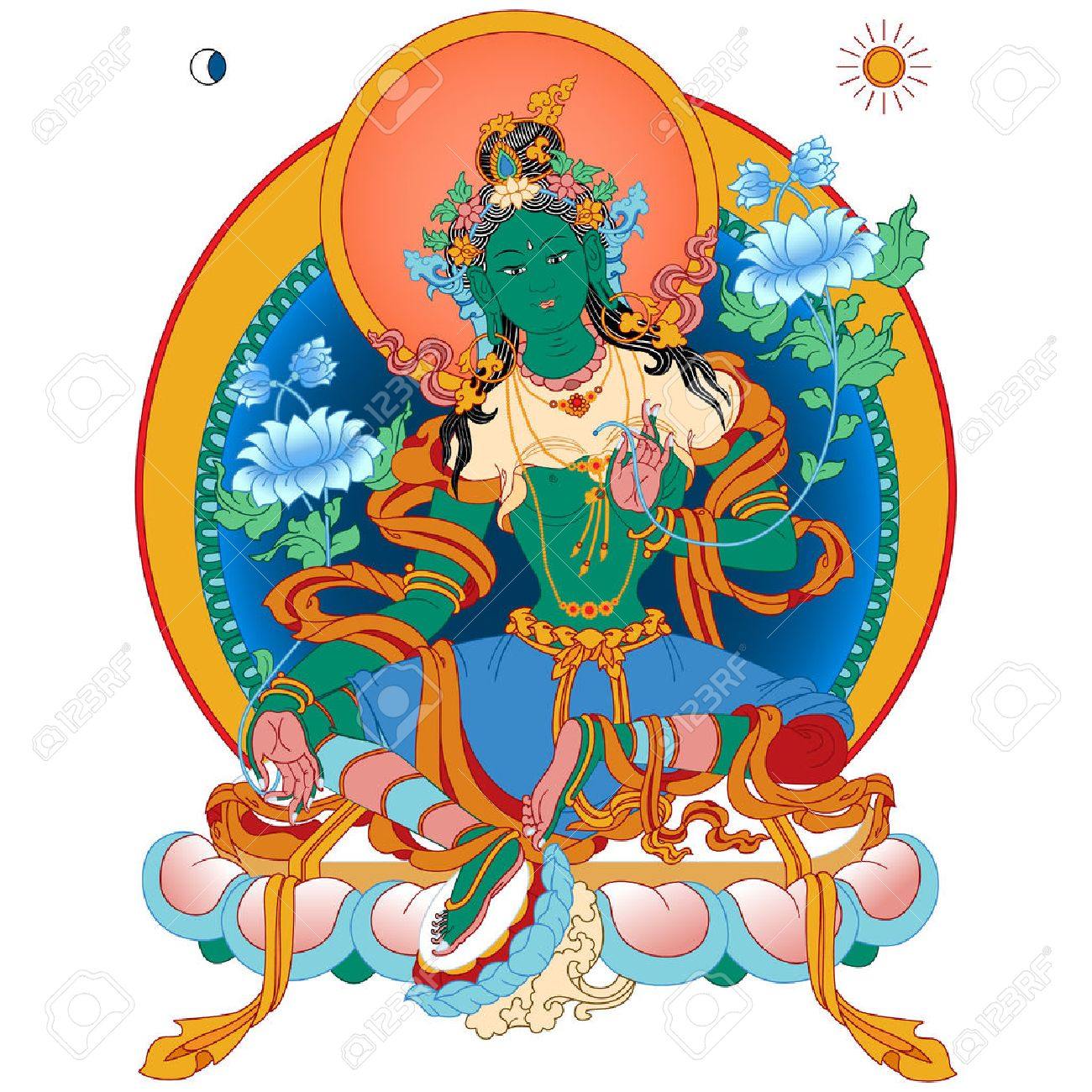 Vector illustration with green tara a symbol of the tibetan vector illustration with green tara a symbol of the tibetan buddhism buddha vector buycottarizona Image collections