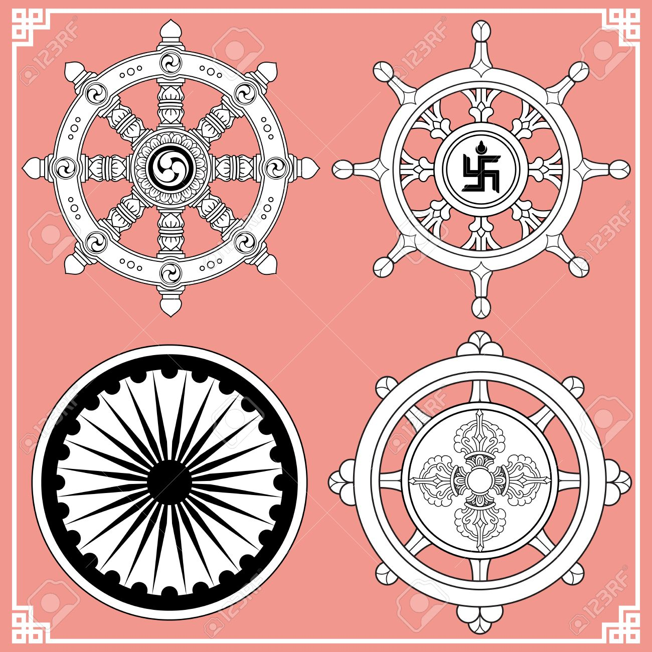 Dharma wheel dharmachakra icons wheel of dharma in black and dharma wheel dharmachakra icons wheel of dharma in black and white design buddhism buycottarizona