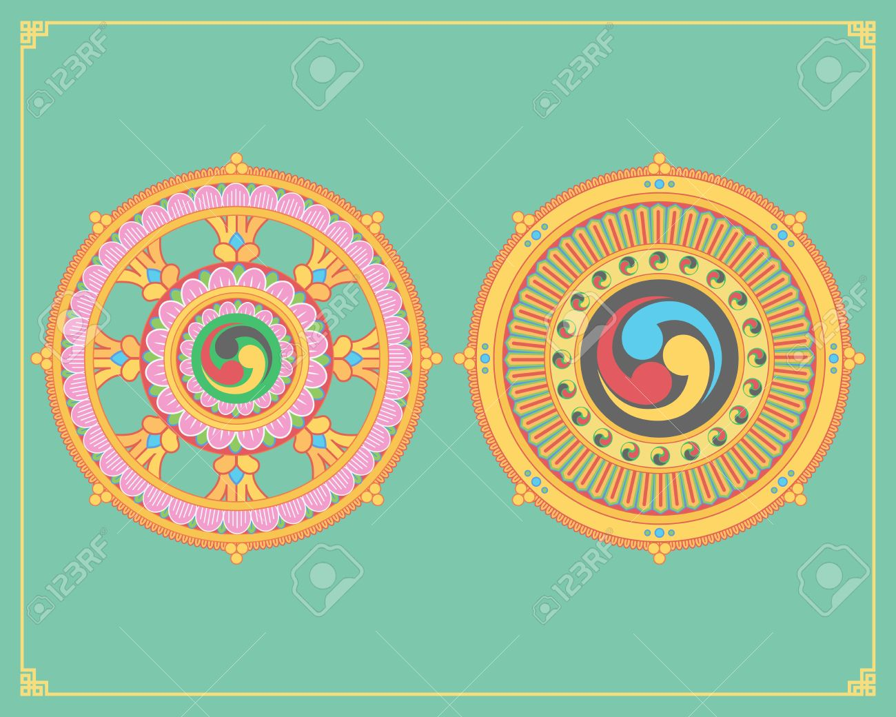 Dharma Wheel Dharmachakra Icons Wheel Of Dharma In Flat Design