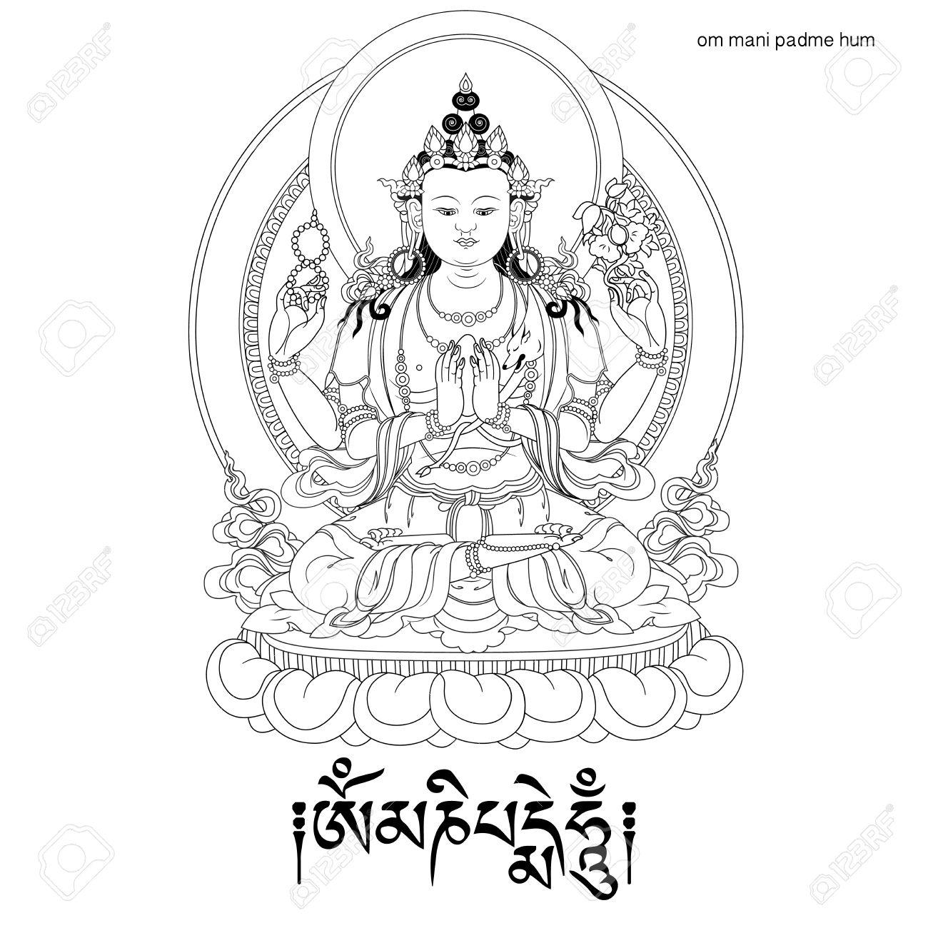 Vector illustration with Avalokiteshvara and mantra OM MANI
