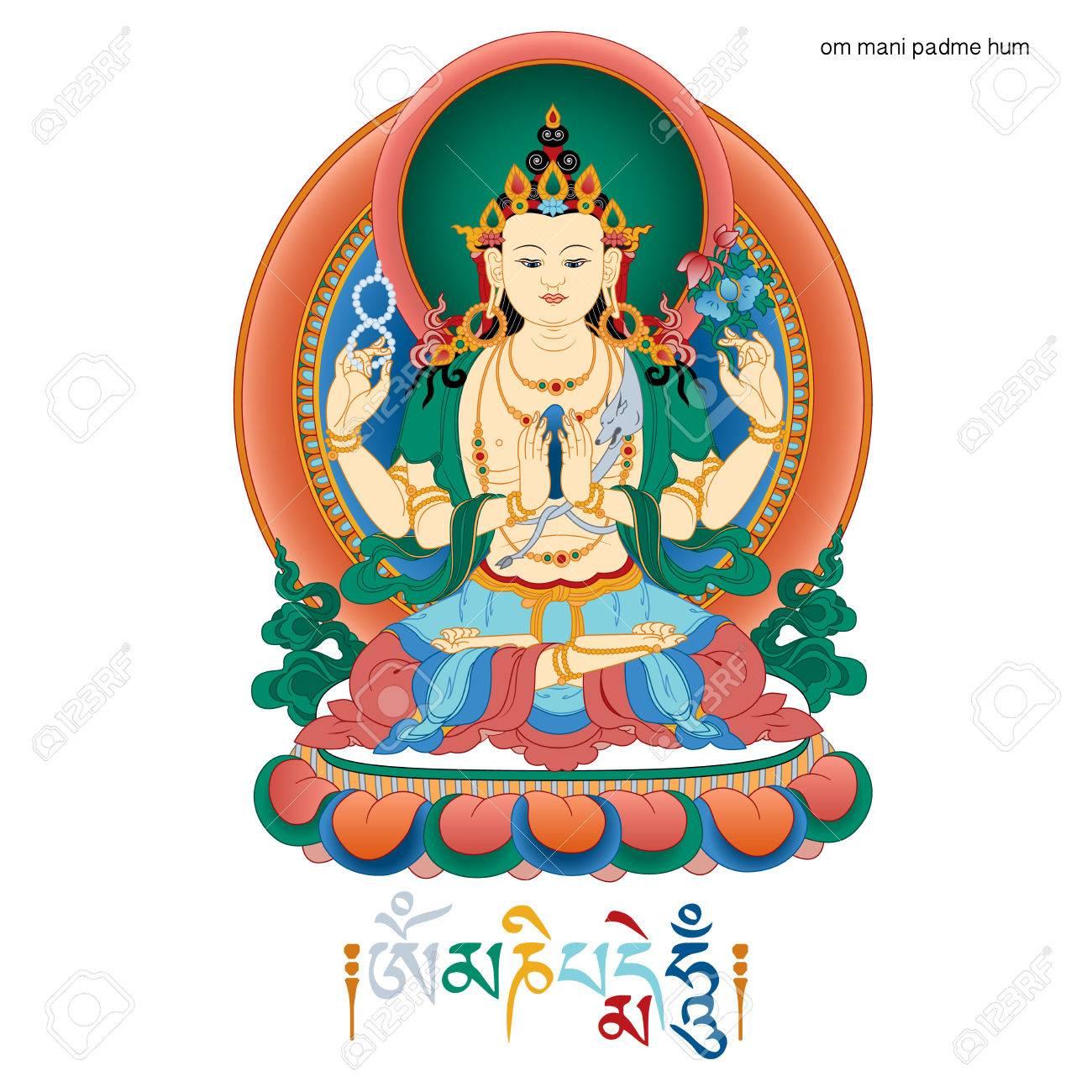 Vector illustration with bodhisattva avalokiteshvara and mantra om vector illustration with bodhisattva avalokiteshvara and mantra om mani padme hum bodhisattva who embodies the buycottarizona