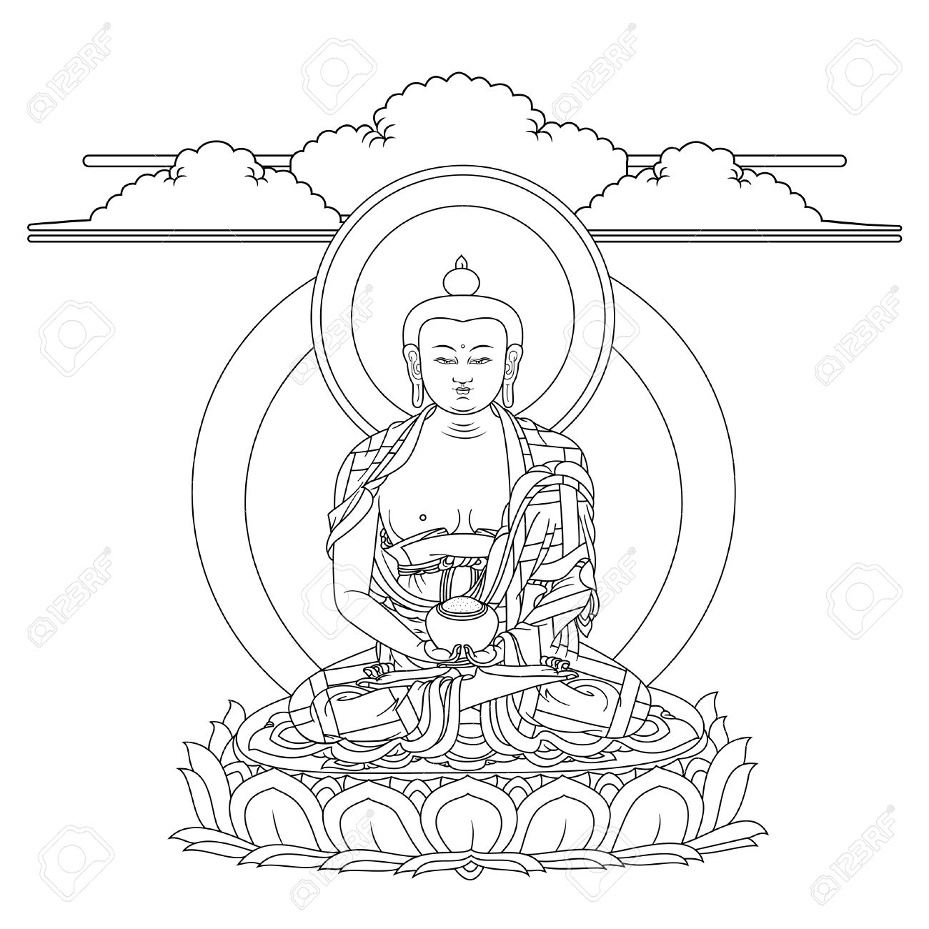 Vector vector illustration with buddha amitabha in meditation a symbol of the tibetan buddhism black and white design