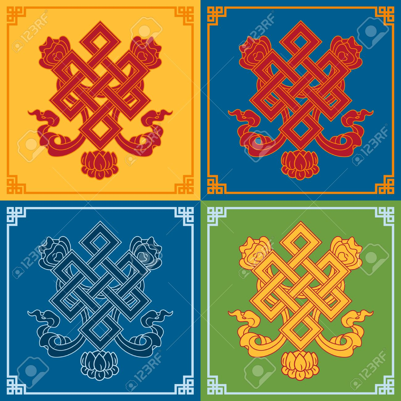 Color endless knot icons buddhist symbols symbols wisdom color endless knot icons buddhist symbols symbols wisdom enlightenment stock vector buycottarizona Image collections