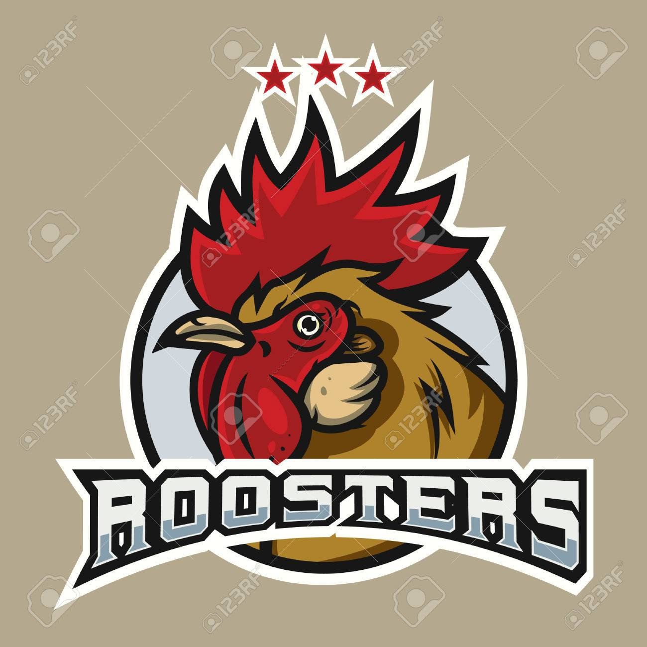 detailed sports logo template with angry face emotion rooster