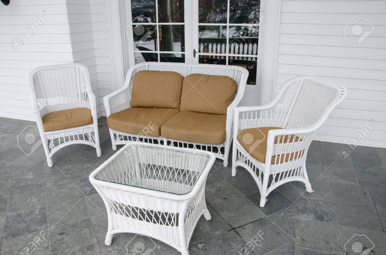 White Wicker Patio Furniture Set Out To Relax And Enjoy The View Of The  Colorado Mountains